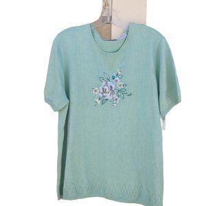 NWT Alfred Dunner Sheer Romance Floral Sweater XL